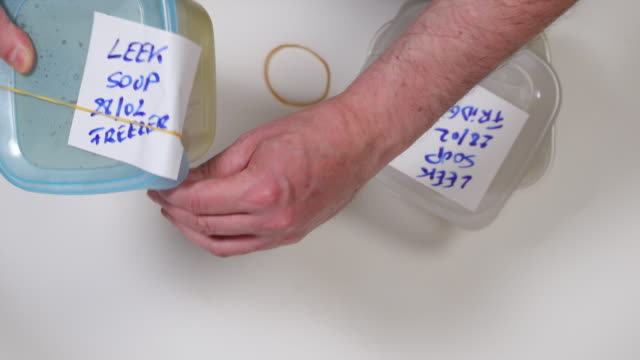 Labeling food storage containers.