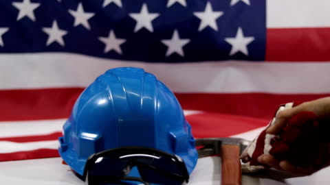labor day american flag.work tool - labor union stock videos & royalty-free footage