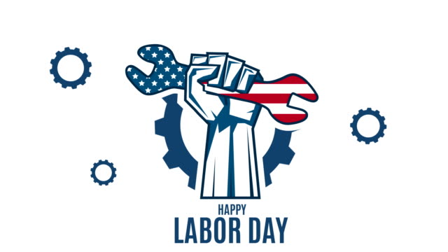 labor day with hand holding wrench. 4k animation - poster template stock videos & royalty-free footage