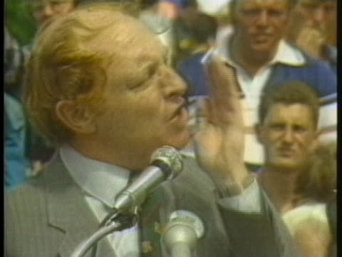 labor party leader neil kinnock criticizes british prime minister margaret thatcher for her handling of a coal miner's strike and other labor unrest. - business or economy or employment and labor or financial market or finance or agriculture stock videos & royalty-free footage