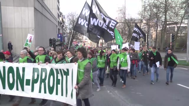 labor union members take part in a protest against government's austerity policy in brussels belgium on march 21 2017 thousands of workers in the... - labor union stock videos and b-roll footage