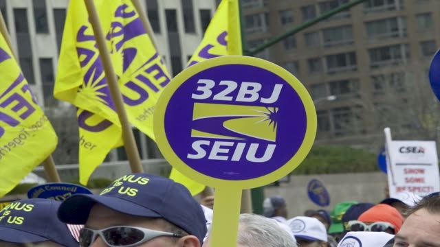 'working people's day of action' politicians community leaders supporters and members of worker's unions rallied downtown manhattan's foley square in... - labor union stock videos and b-roll footage