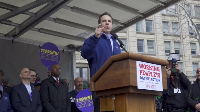 'working people's day of action' politicians community leaders supporters and members of worker's unions rallied downtown manhattan's foley square in... - 長点の映像素材/bロール