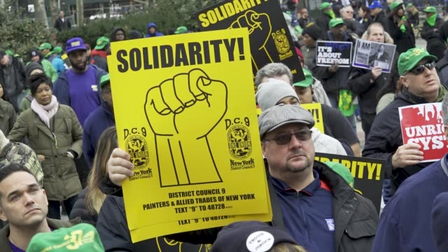 'Working People's Day of Action' Politicians community leaders supporters and members of worker's unions rallied downtown Manhattan's Foley Square in...