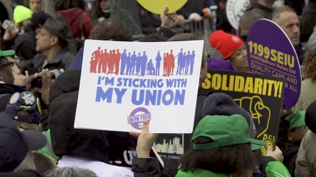 'working people's day of action' politicians community leaders supporters and members of worker's unions rallied downtown manhattan's foley square in... - around the fair n.y stock videos & royalty-free footage