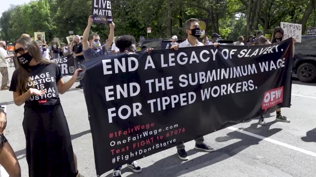 labor unions workers rallied outside the trump international hotel & tower at columbus circle in manhattan, new york city to protest systemic racism... - social justice concept stock videos & royalty-free footage