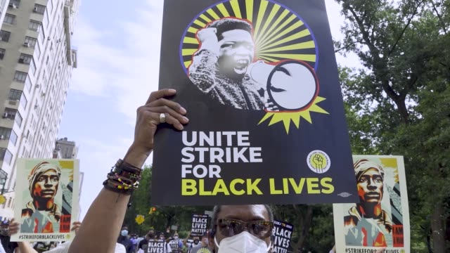 labor unions workers rallied outside the trump international hotel tower at columbus circle in manhattan new york city to protest systemic racism and... - social justice concept stock videos & royalty-free footage