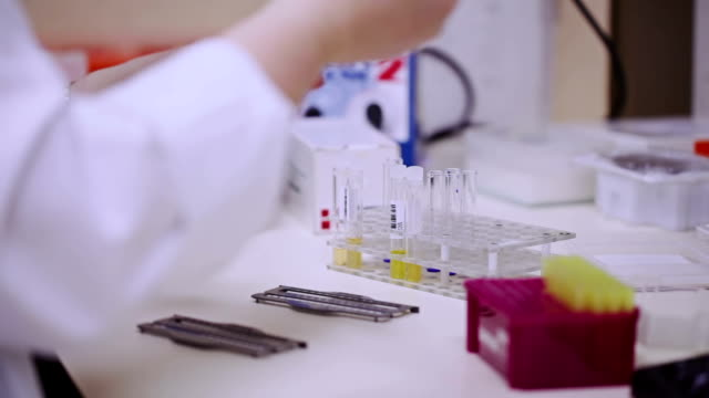 laboratory assistent adds reagent into test tubes - assistent stock videos & royalty-free footage