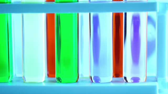 laboratory glassware with color liquid