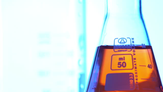 laboratory glassware with color liquid - laboratory flask stock videos & royalty-free footage