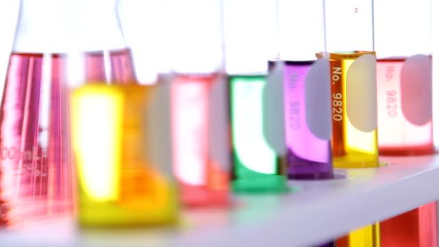 Laboratory glassware with colorful liquid