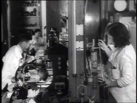 1946 MS Laboratory technicians working with microscopes and beakers / United States