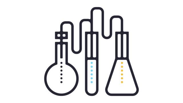 vidéos et rushes de laboratoire test ligne icône animation - tube à essai