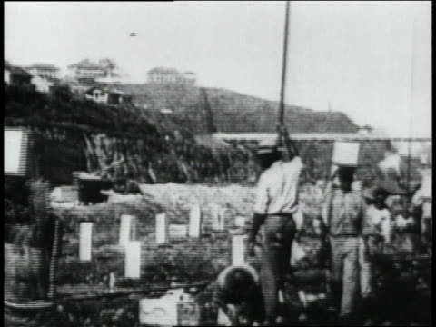 ws laborers carrying boxes some one their heads / republic of panama - anno 1906 video stock e b–roll