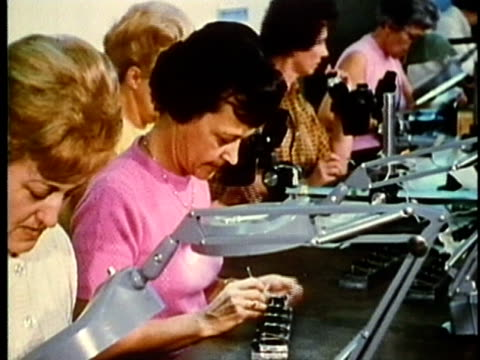 montage, laborers working in factory, 1960's, detroit, michigan, usa - 1960 1969 stock-videos und b-roll-filmmaterial