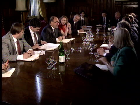 labour asks for parliament recall; tlms labour party shadow cabinet meeting led by john smith zoom in to smith next to gordon brown mp and margaret... - cabinet member stock videos & royalty-free footage