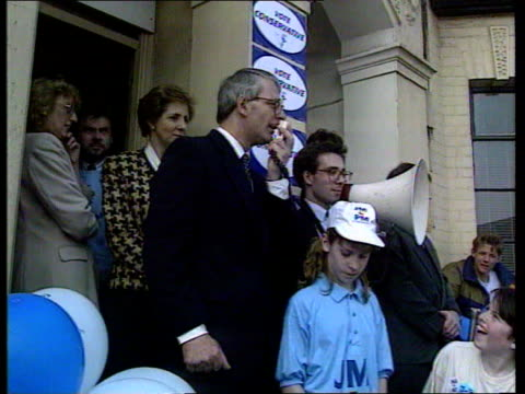 Labour attack on hereditary peers ITN April 1992 LA MS John Major speaking into handheld mic at Tory election rally TGV Audience listening LA MS...
