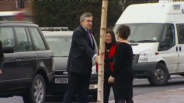 Gordon Brown and Ed Balls visit Durham Johnston School Gordon Brown MP arriving in car and meeting Carolyn Roberts and Roberta BlackmanWoods MP /...