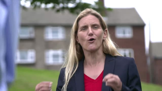 """labour candidate kim leadbeater saying she is """"not getting involved in shouting matches in the street"""" during the batley by-election - party social event stock videos & royalty-free footage"""