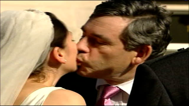 charles clarke criticises gordon brown scotland ravelston ext close shot gordon brown kisses bride his niece on cheek gordon and sarah brown chatting... - cheek to cheek stock videos & royalty-free footage