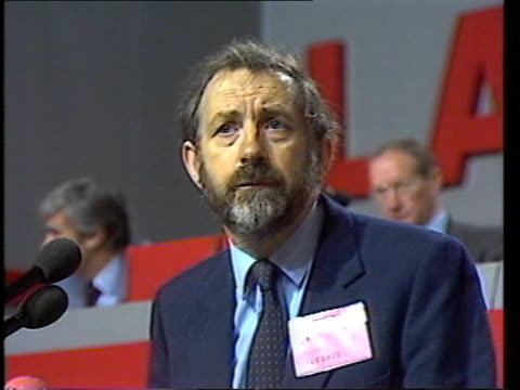 stockvideo's en b-roll-footage met day 4 england dorset bournemouth pres int speech sof in his speech ms neil kinnock clapping eric heffer listening from platform i move ms neil... - roy hattersley
