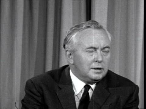 labour election manifesto: harold wilson interview; 8.55 pm england: london: labour party headquarters: harold wilson: sof: - (q. is it still the... - 北極星点の映像素材/bロール
