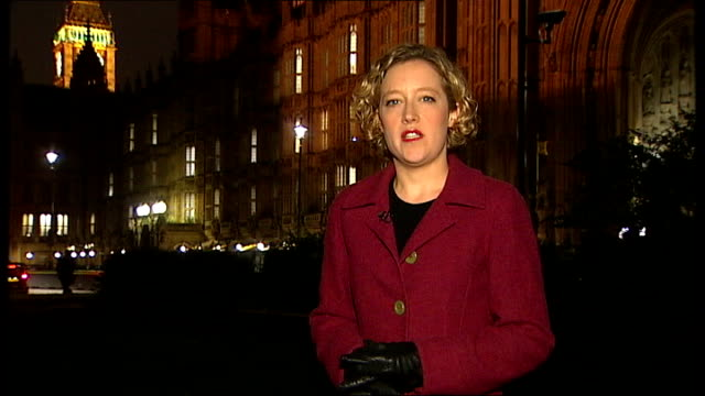 labour general secretary peter watt resigns over party funding row; westminster: night reporter to camera - secretary general stock videos & royalty-free footage