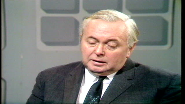 labour leader harold wilson interviewed on middle east arms embargo england london int harold wilson studio interview sot government's embargo on... - harold wilson stock-videos und b-roll-filmmaterial