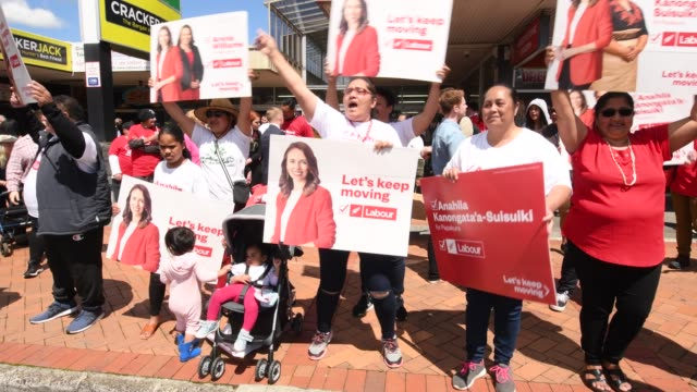 labour leader jacinda ardern meets supporters at on october 16, 2020 in auckland, new zealand. voters head to the polls on saturday to elect the 53rd... - epidemic stock videos & royalty-free footage