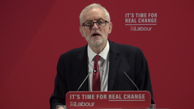 labour leader jeremy corbyn delivers the party manifesto on race and faith to an audience in tottenham he said under a labour government antisemitism... - jeremy corbyn stock videos & royalty-free footage