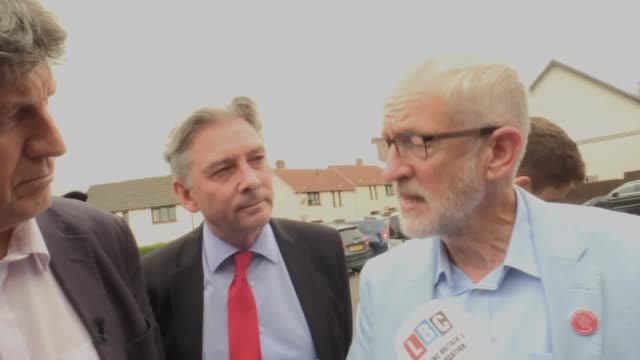 labour leader jeremy corbyn is surrounded by media during a visit to st ninian's chruch community centre in dunfermline on the first day of a three... - dunfermline stock videos & royalty-free footage