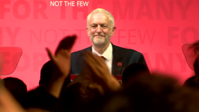 labour leader jeremy corbyn reacts to a jovial labour crowd at a labour political rally in scotland in the run up to the election on june 8th - labour party stock videos & royalty-free footage