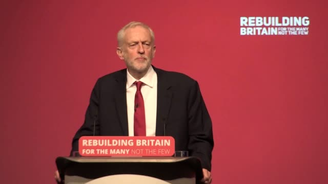 labour leader jeremy corbyn speaks about the middle east conflict and recognising palestine at a speech given at the labour party conference in... - jeremy corbyn stock videos & royalty-free footage