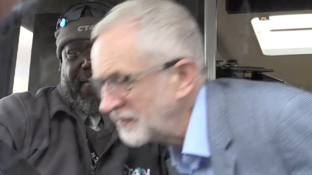 labour leader jeremy corbyn visits nottingham where the labour council runs its own buses including a fleet of eco buses through nottingham city... - tram stock videos & royalty-free footage