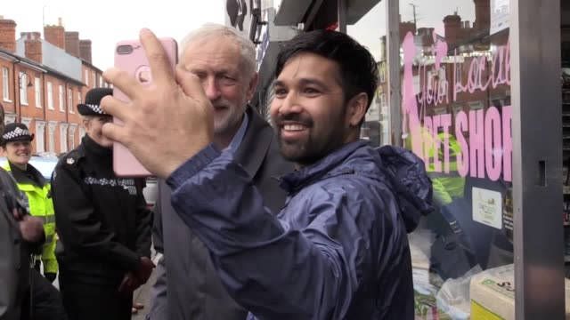 labour leader jeremy corbyn visits wolverton near milton keynes to walk around the town with police officers and meet members of the public to... - jeremy corbyn stock videos & royalty-free footage