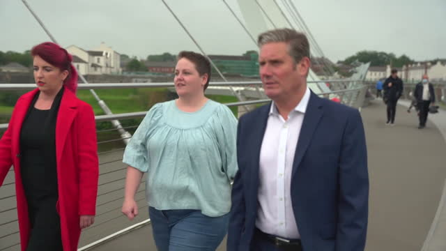 """labour leader keir starmer on a visit to northern ireland - """"bbc news"""" stock videos & royalty-free footage"""