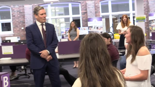"labour leader sir keir starmer met with alevel students at a sixth form college in darlington ""the algorithm has not worked because it's assessed 40%... - darlington north east england stock videos & royalty-free footage"