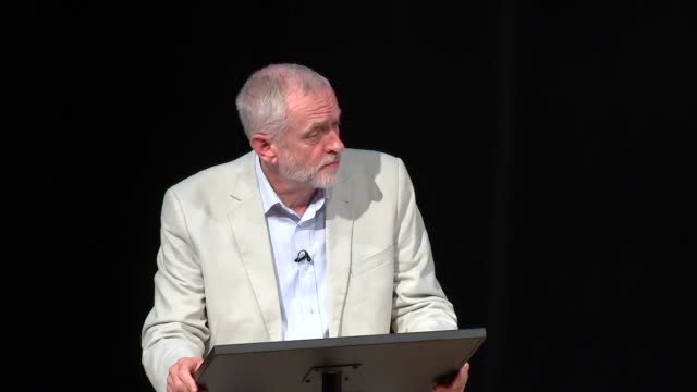 jeremy corbyn and owen smith final hustings event owen smith mp and jeremy corbyn mp along onto stage with moderator for hustings owen smith mp and... - owen smith politician stock videos & royalty-free footage