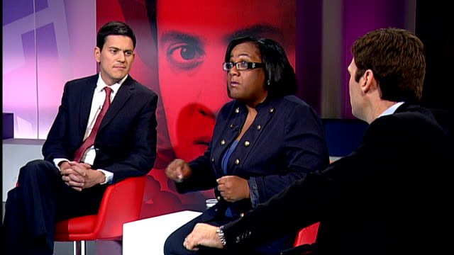 Live debate with candidates Ed Miliband interview SOT Should replace tuition fees with a graduate tax should have a living wage in this country...