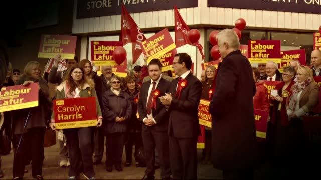 owen smith enters contest date owen smith photocall with labour supporters welsh first minister carwyn jones stands alongside - owen smith politician stock videos & royalty-free footage