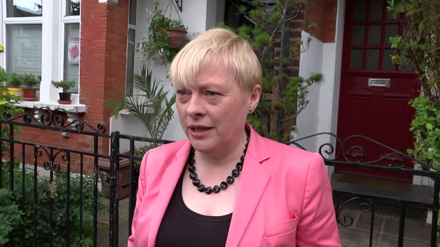 labour leadership crisis: angela eagle speaking to press outside house; england: london: dulwich: ext gvs angela eagle mp out of door to speak to... - dulwich stock videos & royalty-free footage
