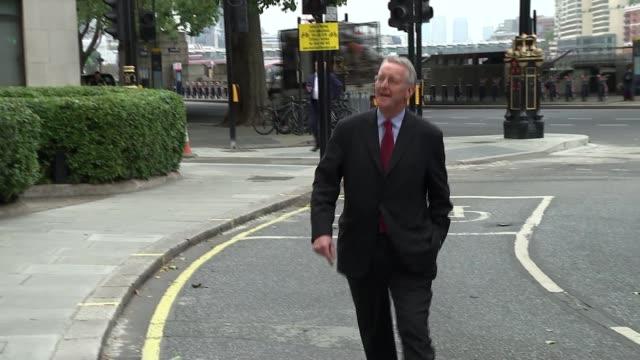 angela eagle speech arrivals england london sync*** maragaret hodge talks to michael crick as along sot hillary benn mp along into building ignoring... - hilary benn stock-videos und b-roll-filmmaterial