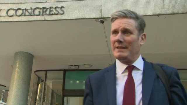 labour leadership election: candidates depart gmb hustings; england: london: bloomsbury: trades union congress: ext keir starmer mp along from... - trades union congress stock videos & royalty-free footage