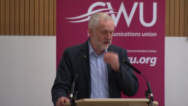 vidéos et rushes de jeremy corbyn at cwu press conference; jeremy corbyn mp speech sot - labour party must exist to fight injustice and inequality, defend post offices,... - injustice