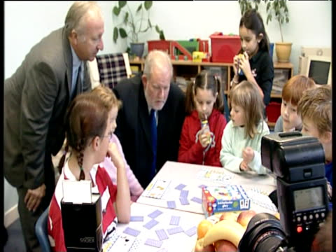 labour minister charles clarke chatting with junior schoolchildren uk - charles clarke uk politician stock videos & royalty-free footage