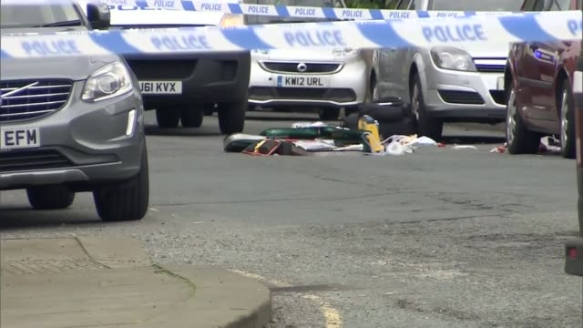 labour mp jo cox dies after being shot and stabbed in street attack close shot of emergency medical bags and equipment lying in cordonedoff road - jo cox politician stock videos and b-roll footage