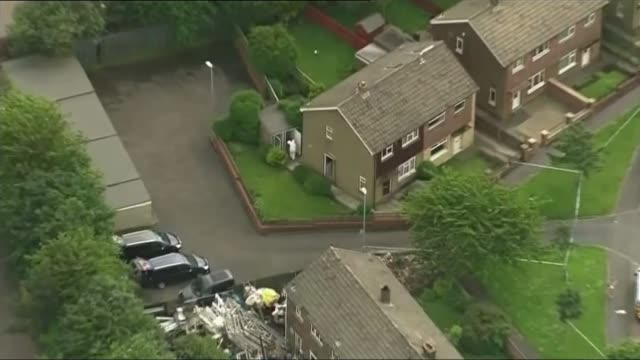 suspect tommy mair air view forensic officer outside house of tommy mair - thomas mair stock videos and b-roll footage
