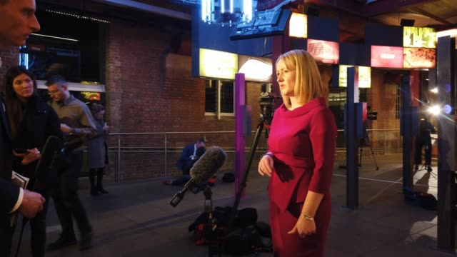 labour mp rebecca long-bailey talks to the media before launching her bid for the leadership of the labour party at manchester museum of science and... - labour party stock videos & royalty-free footage