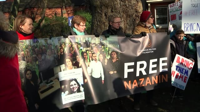 labour mp tulip siddiq asked to intervene in case of barrister allegedly abducted by government london hampstead ext various of people gathered for... - nazanin zaghari ratcliffe video stock e b–roll