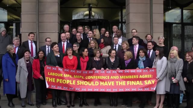 labour mps gather outside portcullis house westminster to voice their wish for a second referendum or people's vote on brexit interview with... - 労働党点の映像素材/bロール